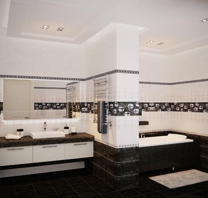 Бело черная ванная комната фото