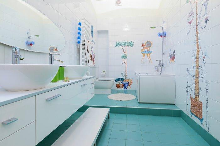 дизайн детской ванной комнаты